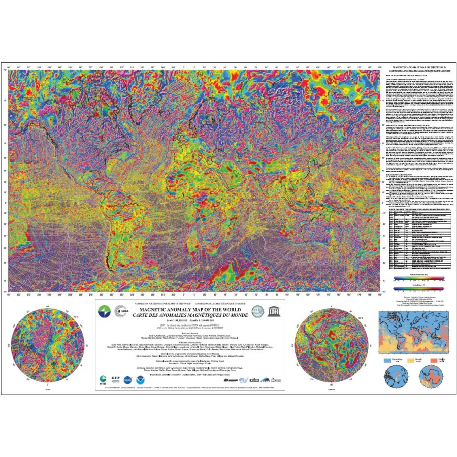 Magnetic Anomaly Map Of The World.Magnetic Anomaly Map Of The World Ccgm Cgmw