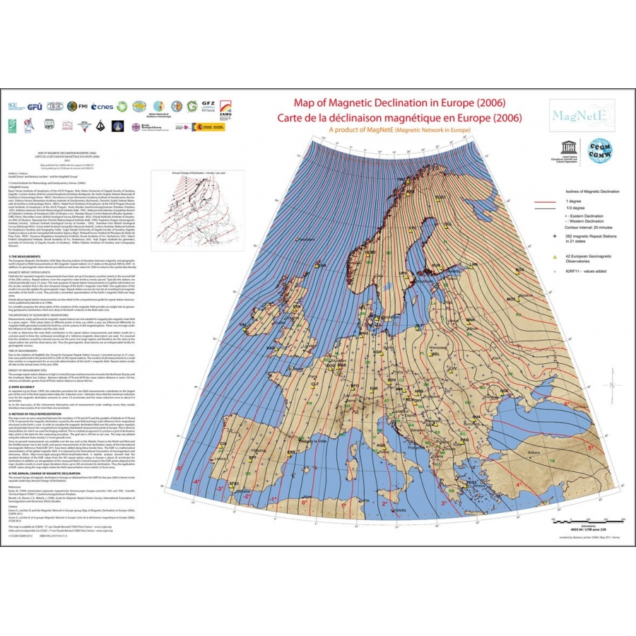 Map of Magnetic Declination in Europe 2006 - CCGM - CGMW