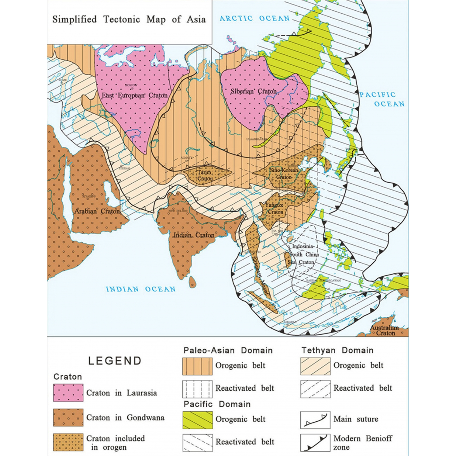 Boundary Map Of Asia.International Geological Map Of Asia At 1 5 M Igma Ccgm Cgmw