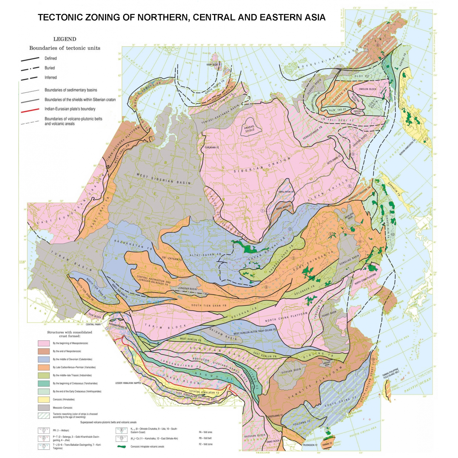 Tectonic map of Northern Central and Eastern Asia CCGM CGMW – Eastern Map