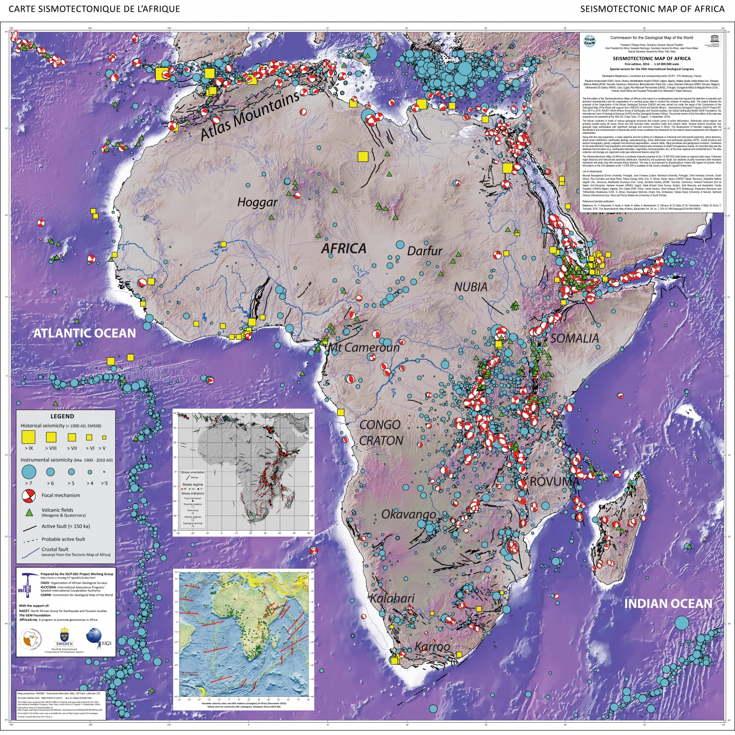 Map Of Africa Oceans.Seismotectonic Map Of Africa Ccgm Cgmw