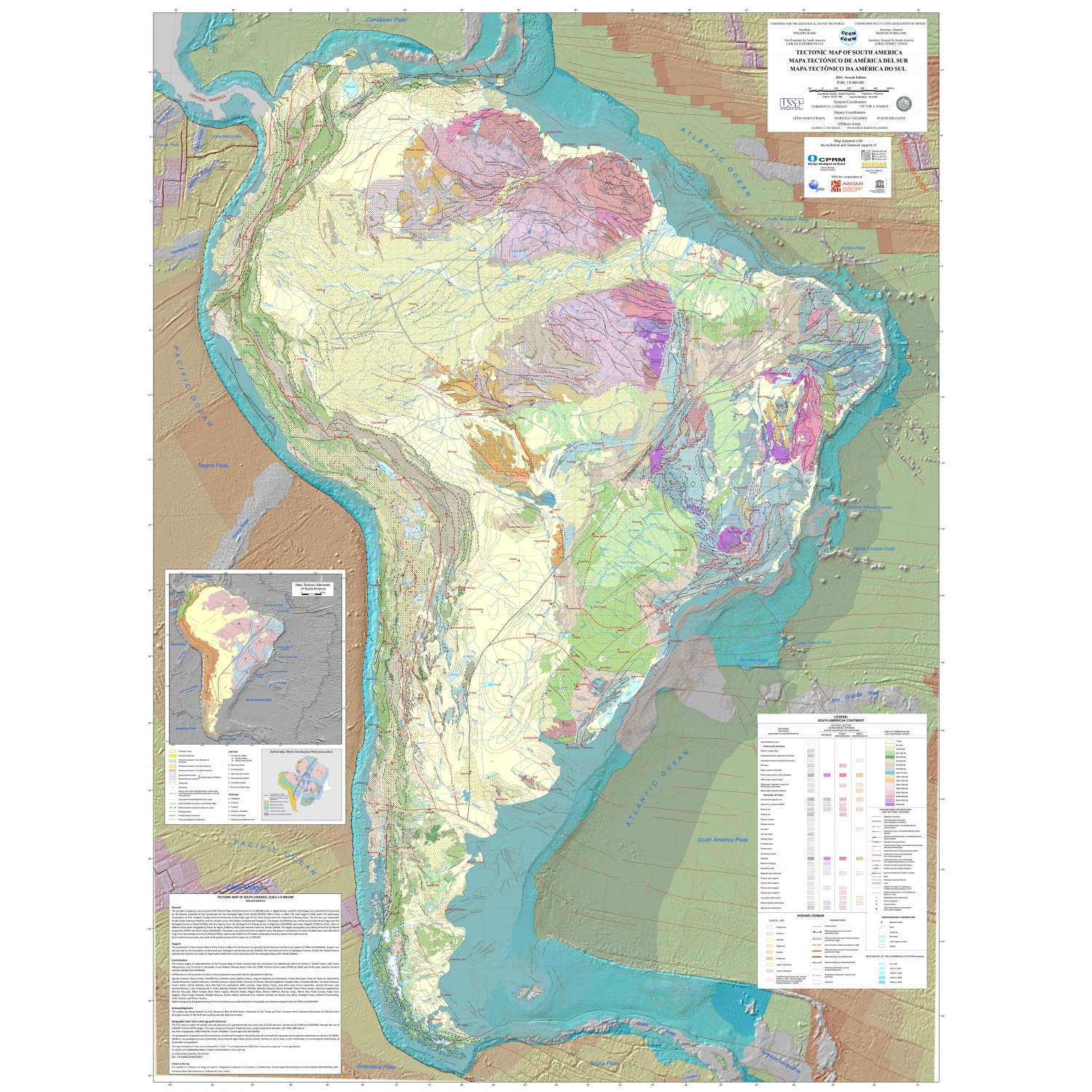 Tectonic Map of South America CCGM CGMW