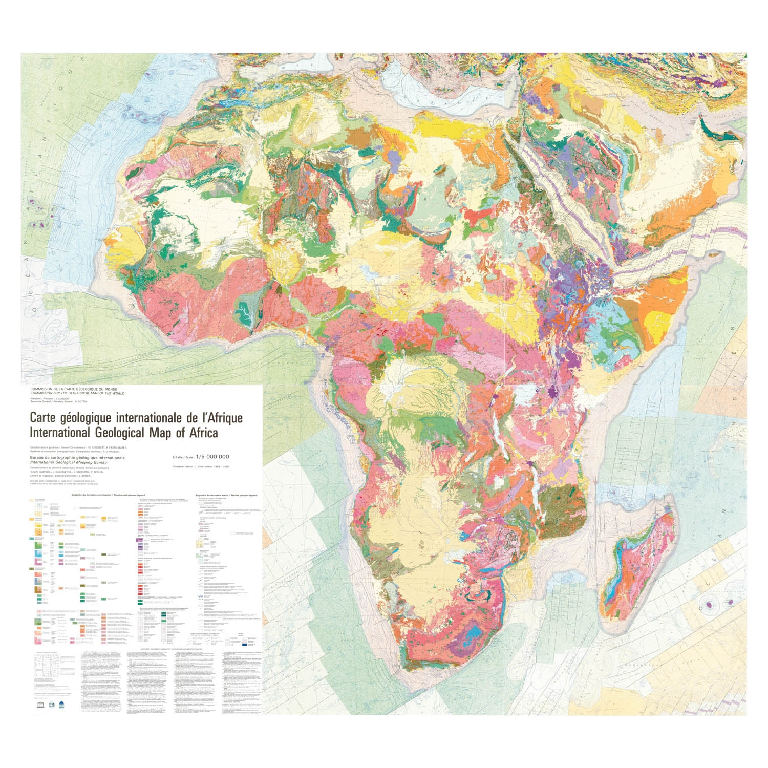 Carte Internationale Madagascar.International Geological Map Of Africa Set Of 6 Sheets Ccgm Cgmw